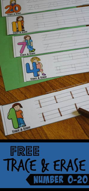 FREE Trace & Erase is a fun, reusable way for preschool, prek, kindergarten age children to practice writing numbers 1-20. Great for math centers, back to school, summer learning, homeschool, home preschool, and more!