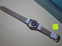 Rückseite: Ostan Damen Uhren Mode Weiß Leder Runde Zifferblatt mit Zirkonia Armkette Armband Armbanduhr Uhr