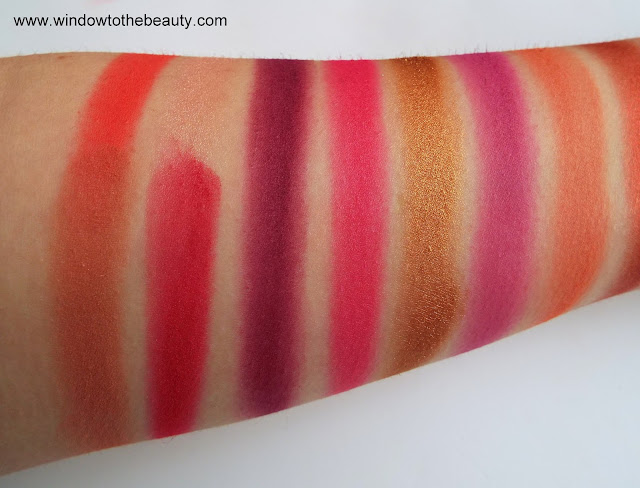 Revolution red pink eyeshadows swatches