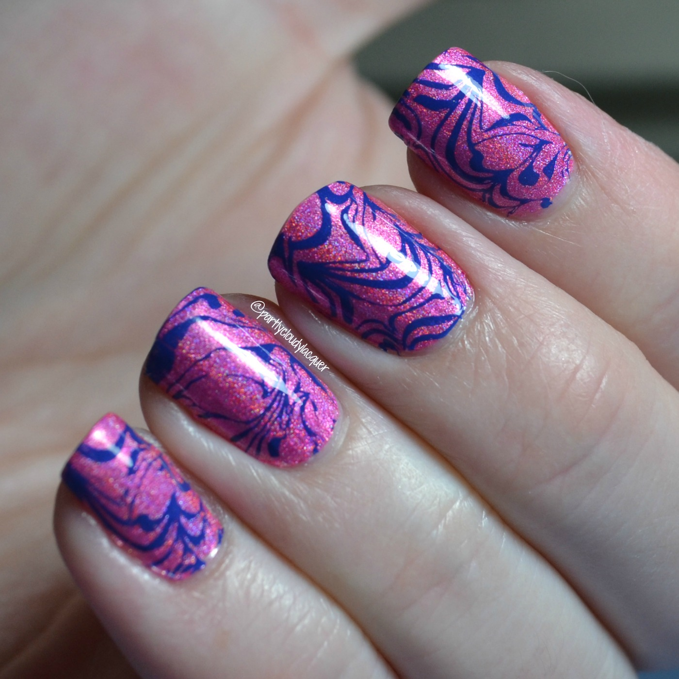 Pink and Blue Stamped Watermarble Nails | Partly Cloudy With a ...