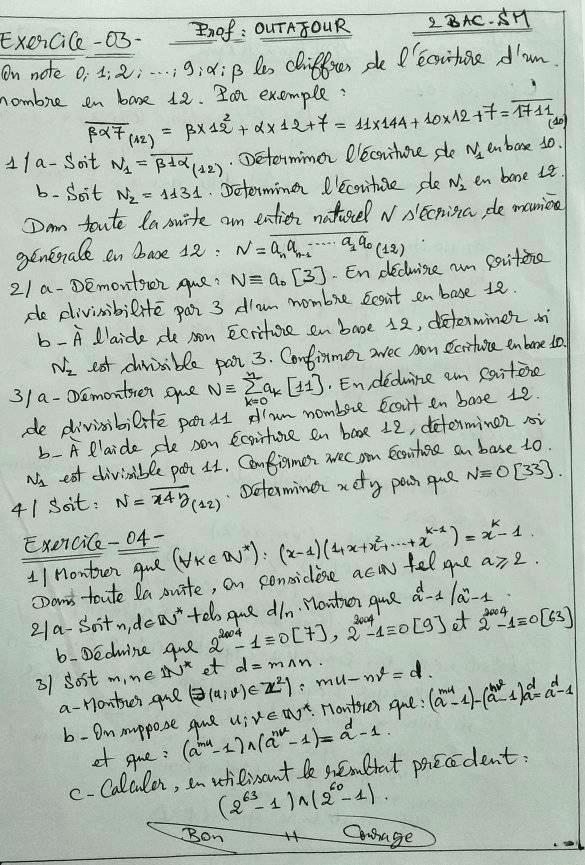 exercices Arithmétiques