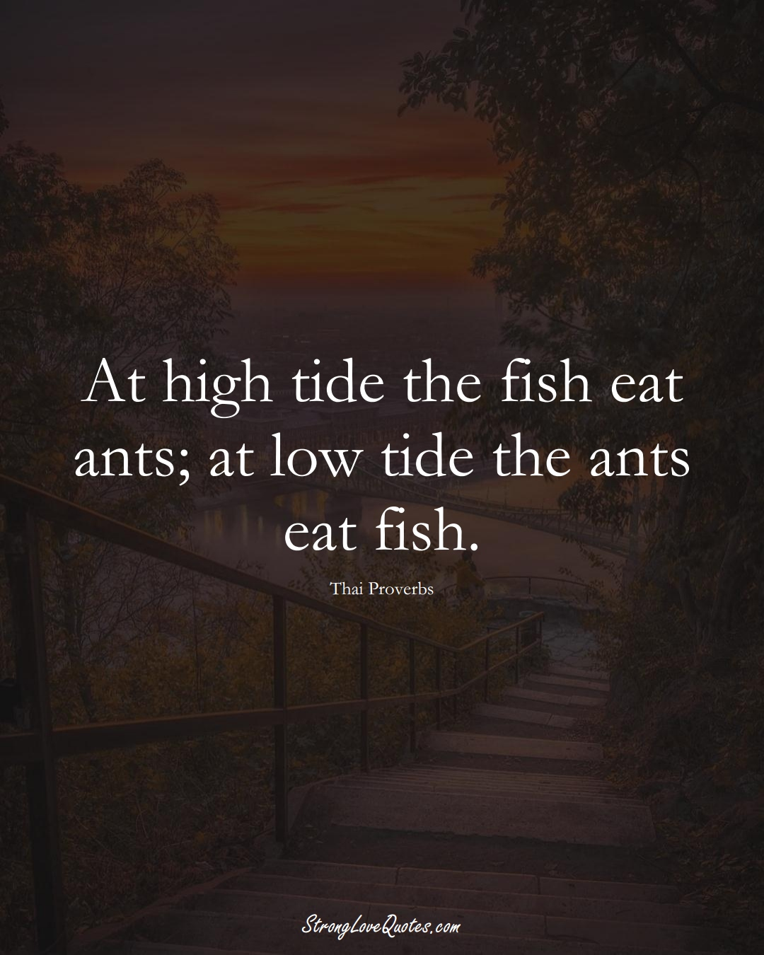 At high tide the fish eat ants; at low tide the ants eat fish. (Thai Sayings);  #AsianSayings