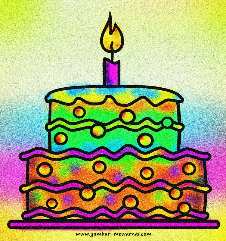 Mewarnai Gambar Kue Ulang Tahun