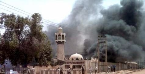 15 people including two female suicide bombers died at telecoms market on the outskirts of Potiskum town in Yobe State