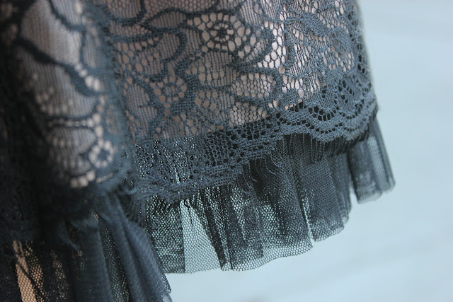 Black Lace and Tulle Skirt