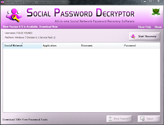 أحسن برنامج في إستخراج كلمات المرور المسجل على حاسوبك SocialPasswordDecryptor