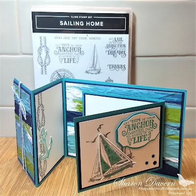 Rhapsody in craft, Sailing Home, Bermuda Bay, Artistry Bloom DSP, Double Open Joy Fold Card, Fancy Fold, Old World Paper 3D EF, Stampin' Up 2020-21 Annual Catalogue