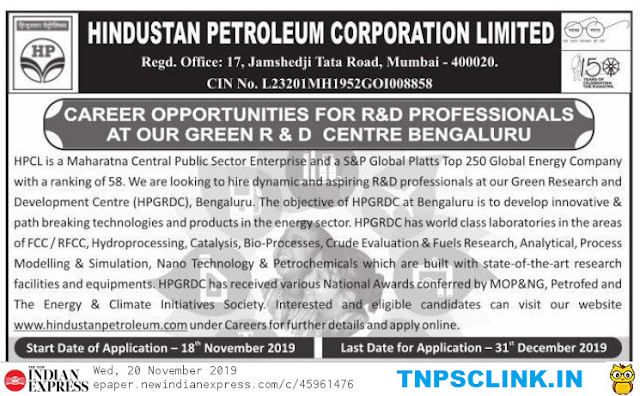HPCL Bengaluru Recruitment 2019 - Chemical/ Chemistry Professionals Can Apply
