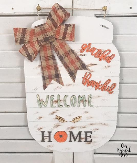 cardboard mason jar sign grateful thankful welcome home orange plaid bow