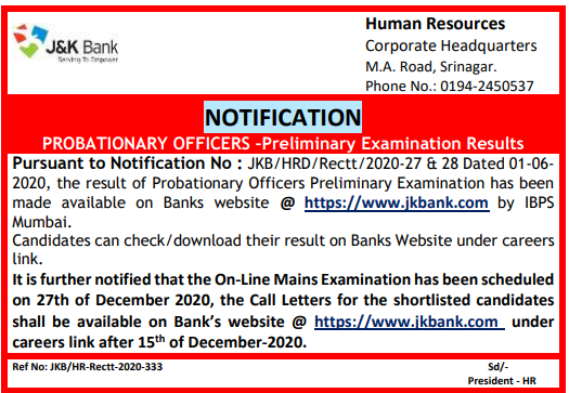 J&K Bank PO Result 2020 Notice