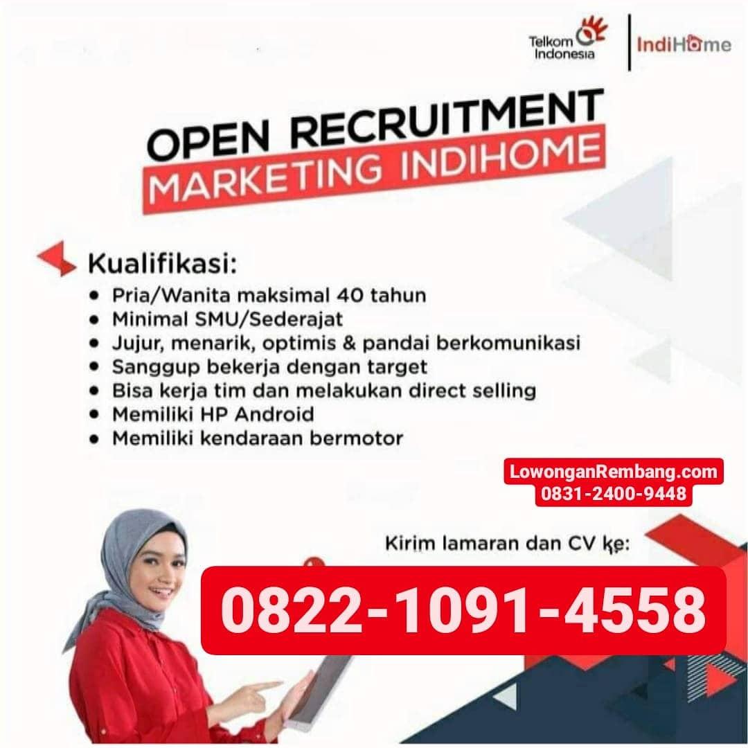 GRATIS Pendaftaran Lowongan Kerja Posisi Marketing Indihome Telkom Rembang Cukup Chat WhatsApp