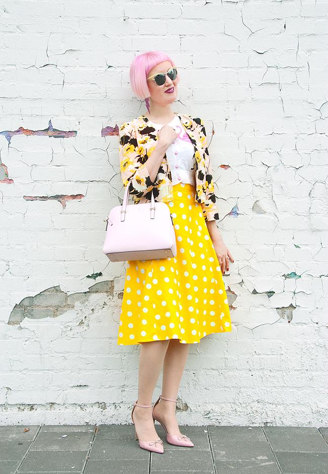 polka dot skirt, tara starlet, street style