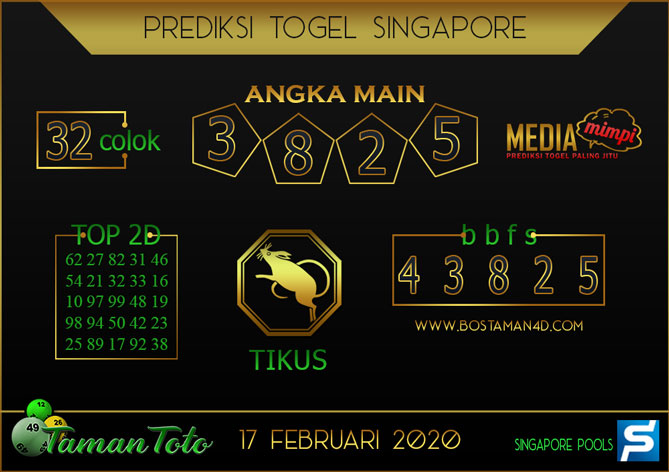 Prediksi Togel SINGAPORE TAMAN TOTO 17 FEBRUARY 2020