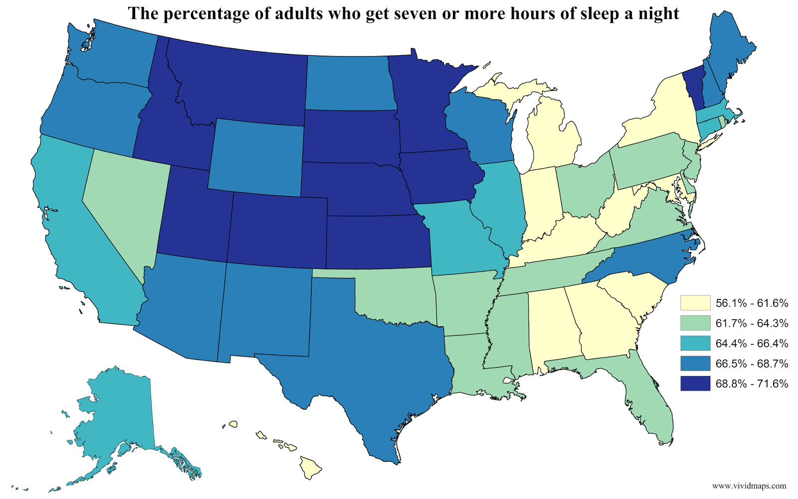 The percentage of adults who get seven or more hours of sleep a night
