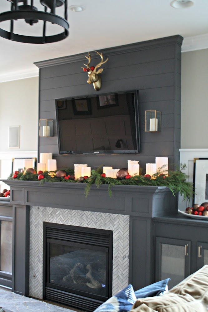 dark gray fireplace marble tile