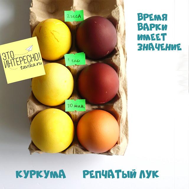 цвет яиц зависит от времени варки