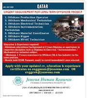 QATAR JOBS : REQUIRED FOR A OFFSHORE PROJECT IN QATAR .g