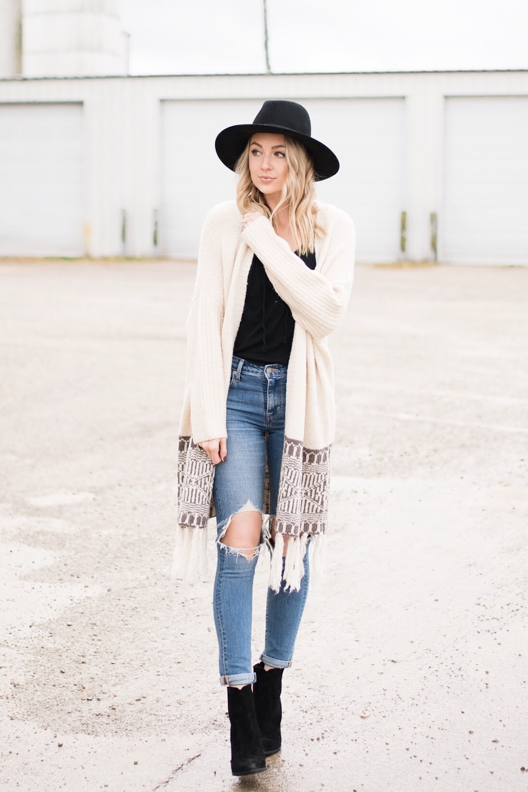 fall/winter boho, casual outfit idea