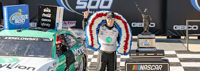 Keselowski Surges to Lead on Final Lap to Win GEICO 500