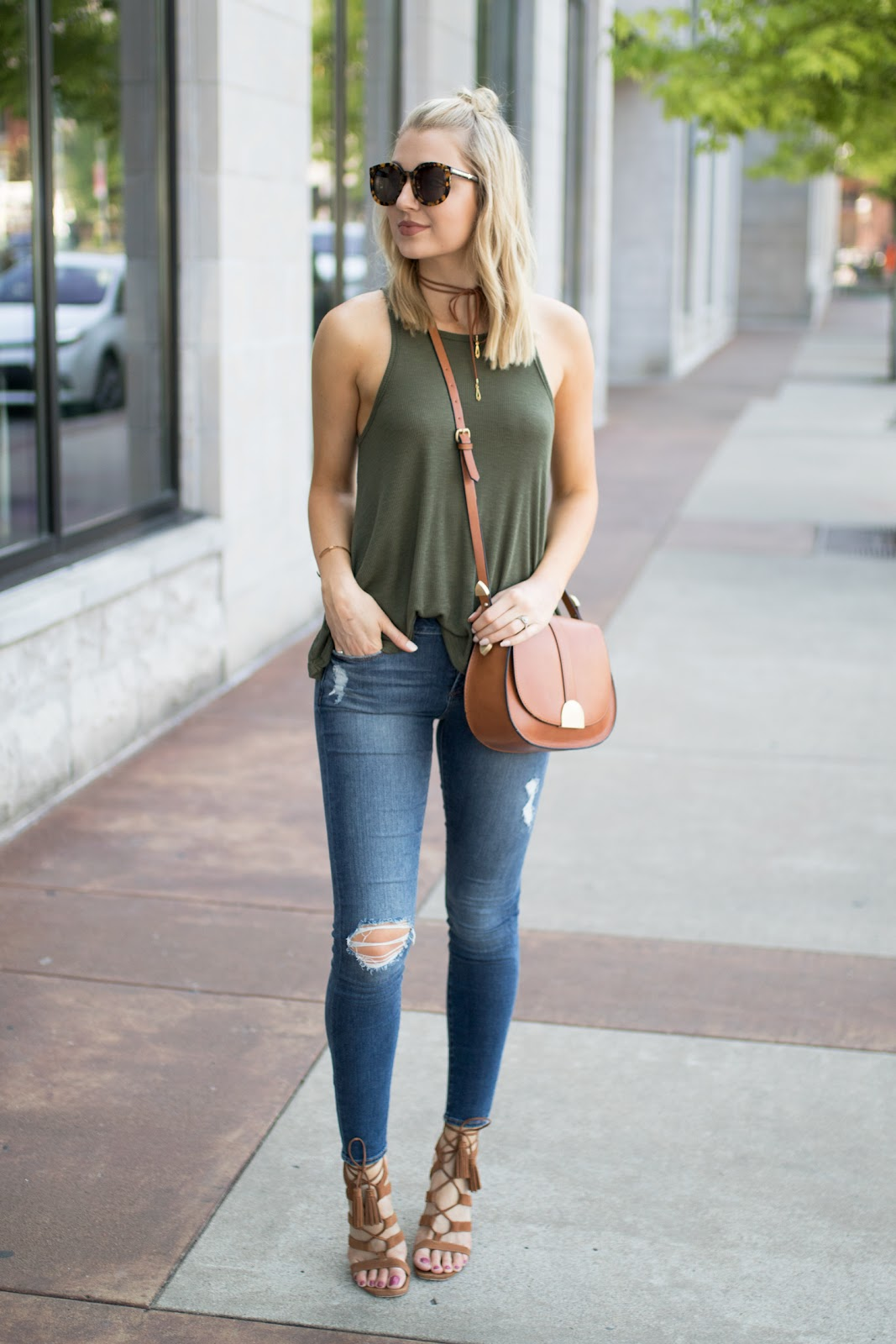 Free People tank with distressed jeans
