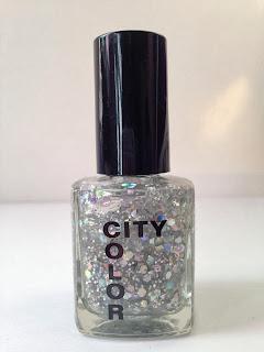 A bottle of silver glitter nail varnish