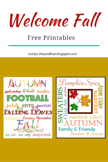 Things we love about fall: leaves changing colour, sweaters, crisp air.  Welcome Fall with free printable to help with your decorating.