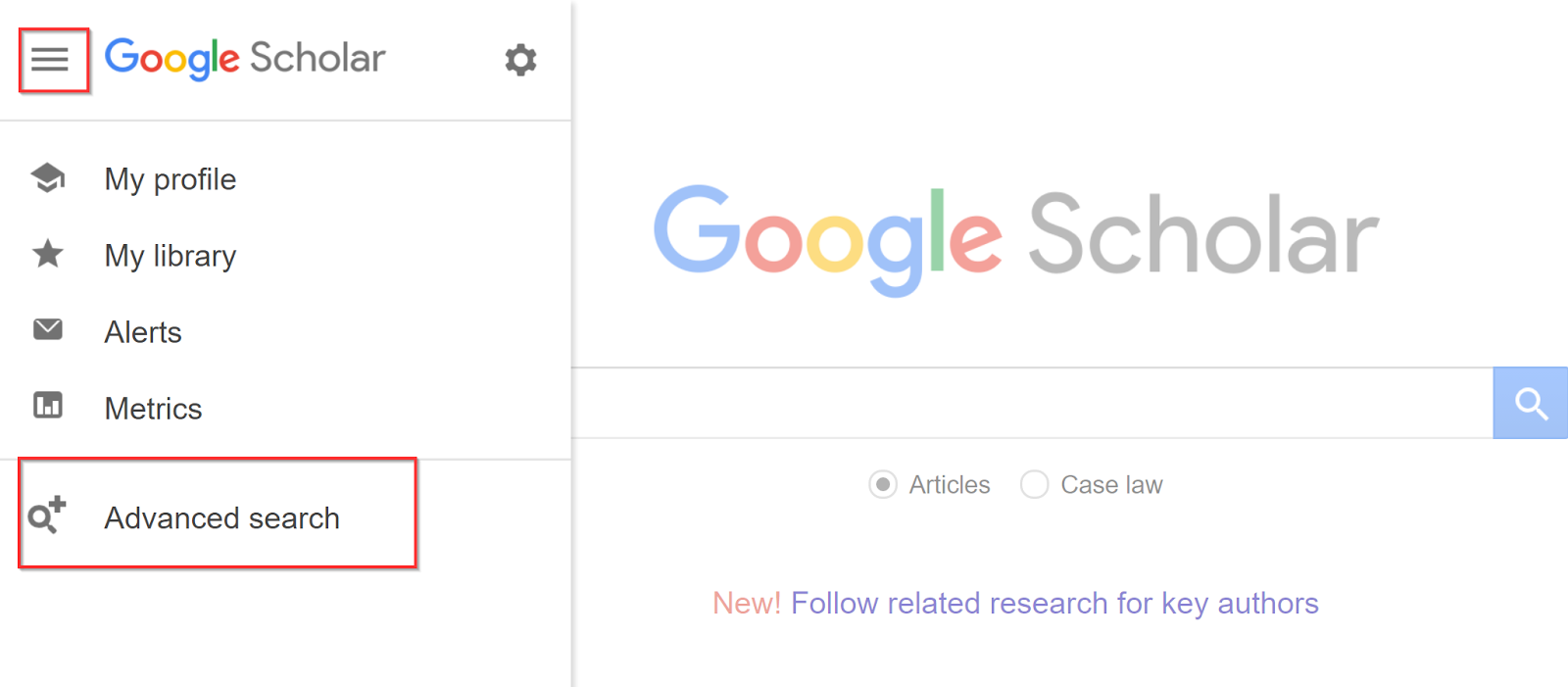 4 new things about google scholar ui recommendations and click the down arrow button to get access to advanced search in the old google scholar ccuart Image collections