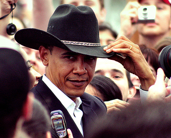 I m imagining Obama get s elected as a sheriff of an old west town that  hates him. Bush is a has-been gunslinger that drinks too much. a4596486e0a