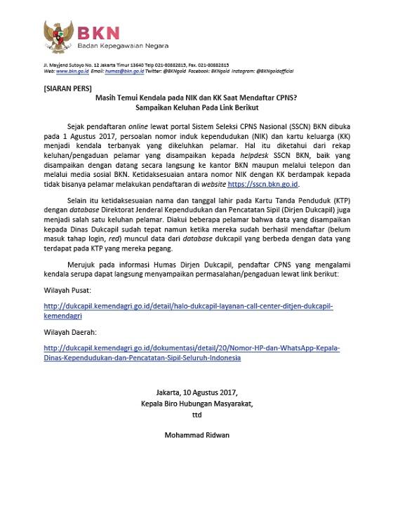 Pendaftaran CPNS 2017, BKN: Masih Temui Kendala Pada NIK dan KK Saat Mendaftar CPNS? Sampaikan Keluhan Pada Link Berikut