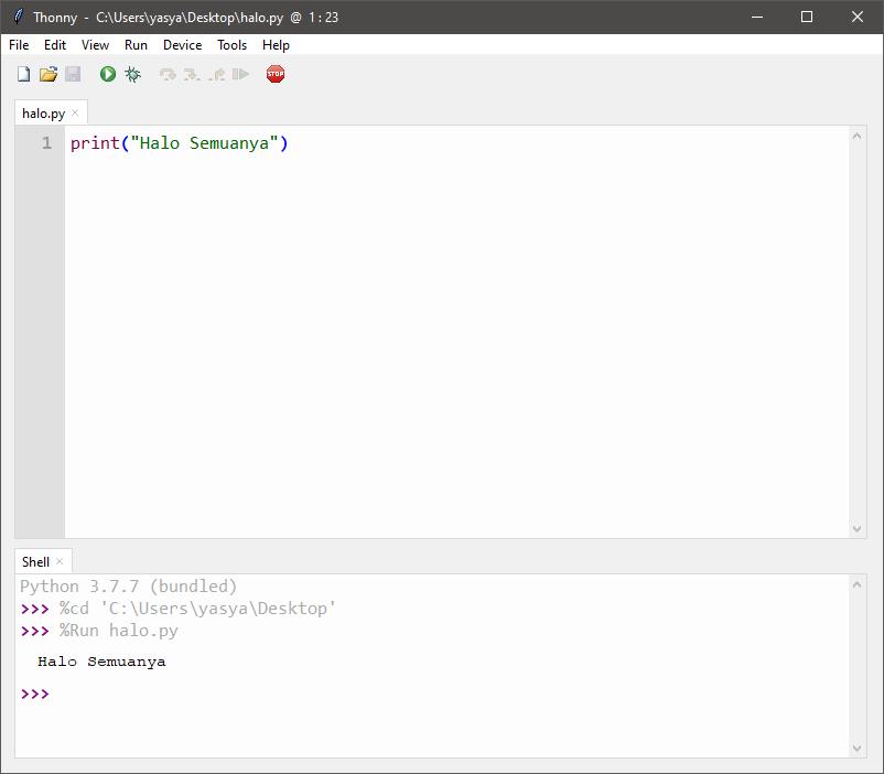 Menjalankan Python dengan Thonny IDE