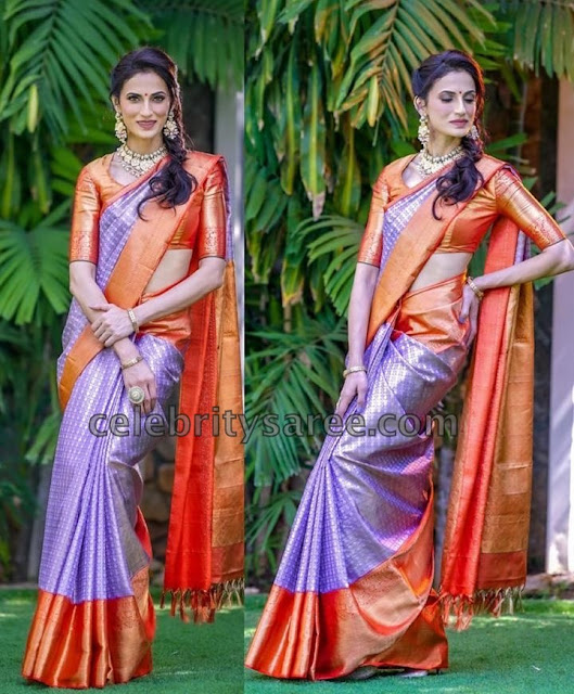 Shilpa Reddy in Violet Kanchipattu Saree