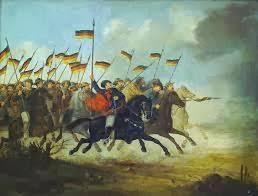 o quadro uma pintura artística retratando uma cena da Revolução Farroupilha e conhecida como Guerra dos Farrapos.