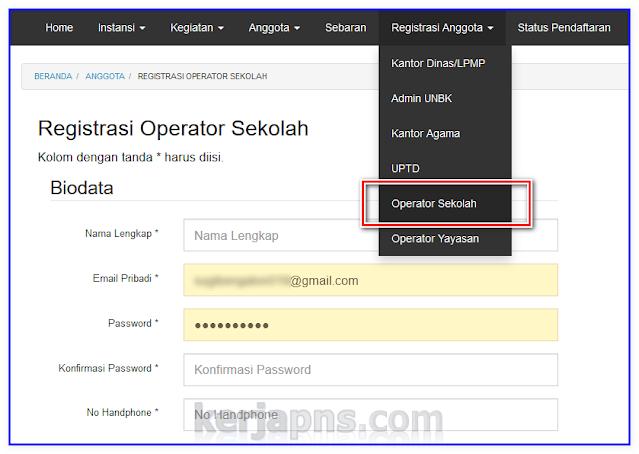 cara registrasi operator sekolah di sdm data kemdikbud