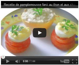 pamplemousse farci, thon mayonnaise, champignons, oeufs mimosa, sans gluten