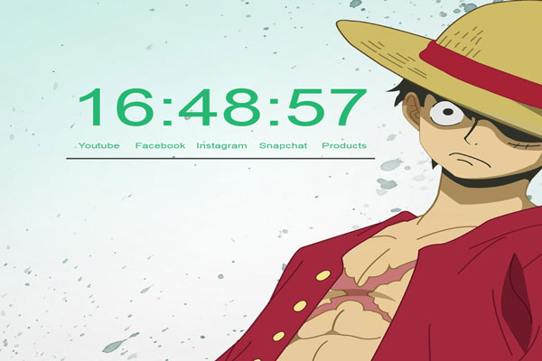 Luffy clock fading background