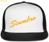 SCUMBRO trucker cap with neon orange tag