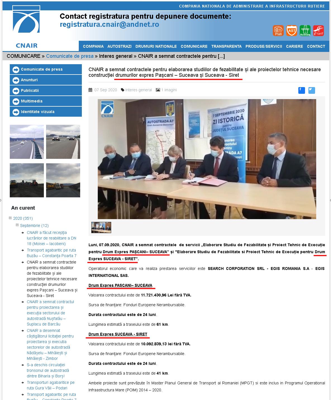 CNAIR a semnat contractele pentru elaborarea studiilor de fezabilitate și ale proiectelor tehnice necesare construcției drumurilor expres Pașcani – Suceava și Suceava - Siret