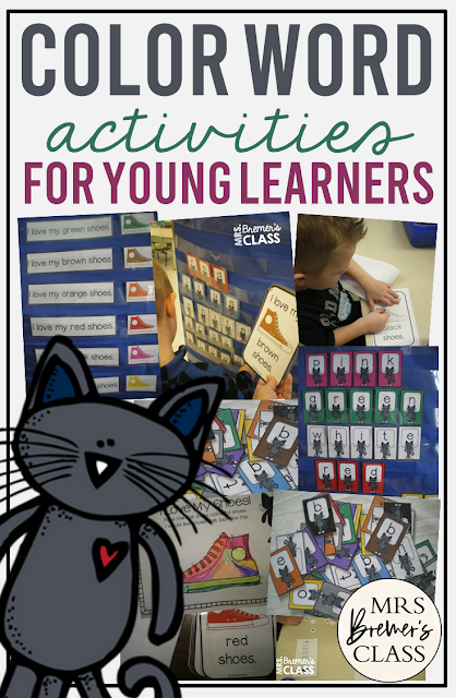 Learn color words with Pete the Cat and the cat's shoes, with literacy center color activities and color word work learning in Kindergarten and First Grade