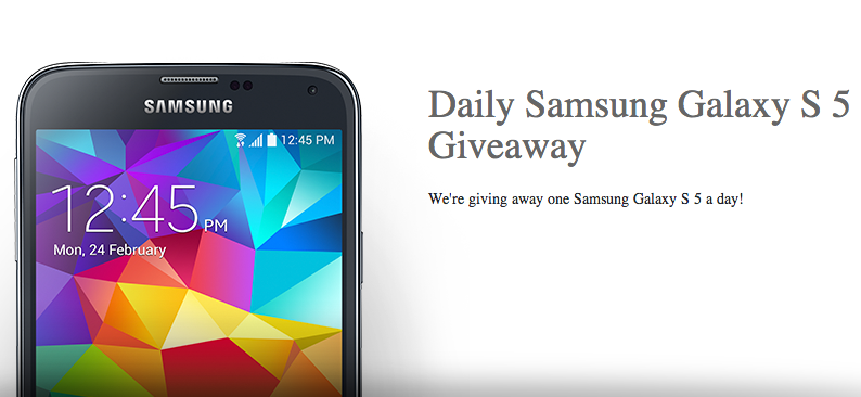 Daily Samsung Galaxy S5 Smartphone US Giveaway sweepstakes April 2014