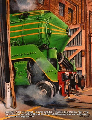 Plein air oil painting of 3801 steaming in the Large Erecting Shop, Eveleigh Railway Workshops by industrial heritage artist Jane Bennett