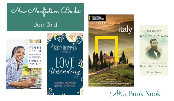 New nonfiction books a cookbook by Oprah, travel in Italy, and marriage relationship