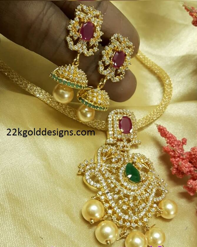 Imitation Czs Pendant with jhumkas