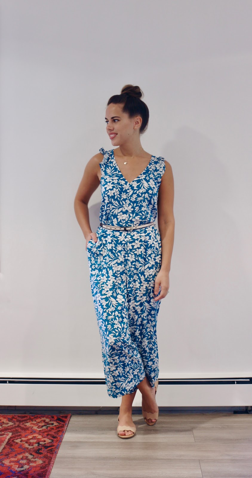 Jules in Flats -  Cropped Floral Jumpsuit (Business Casual Summer Workwear on a Budget)