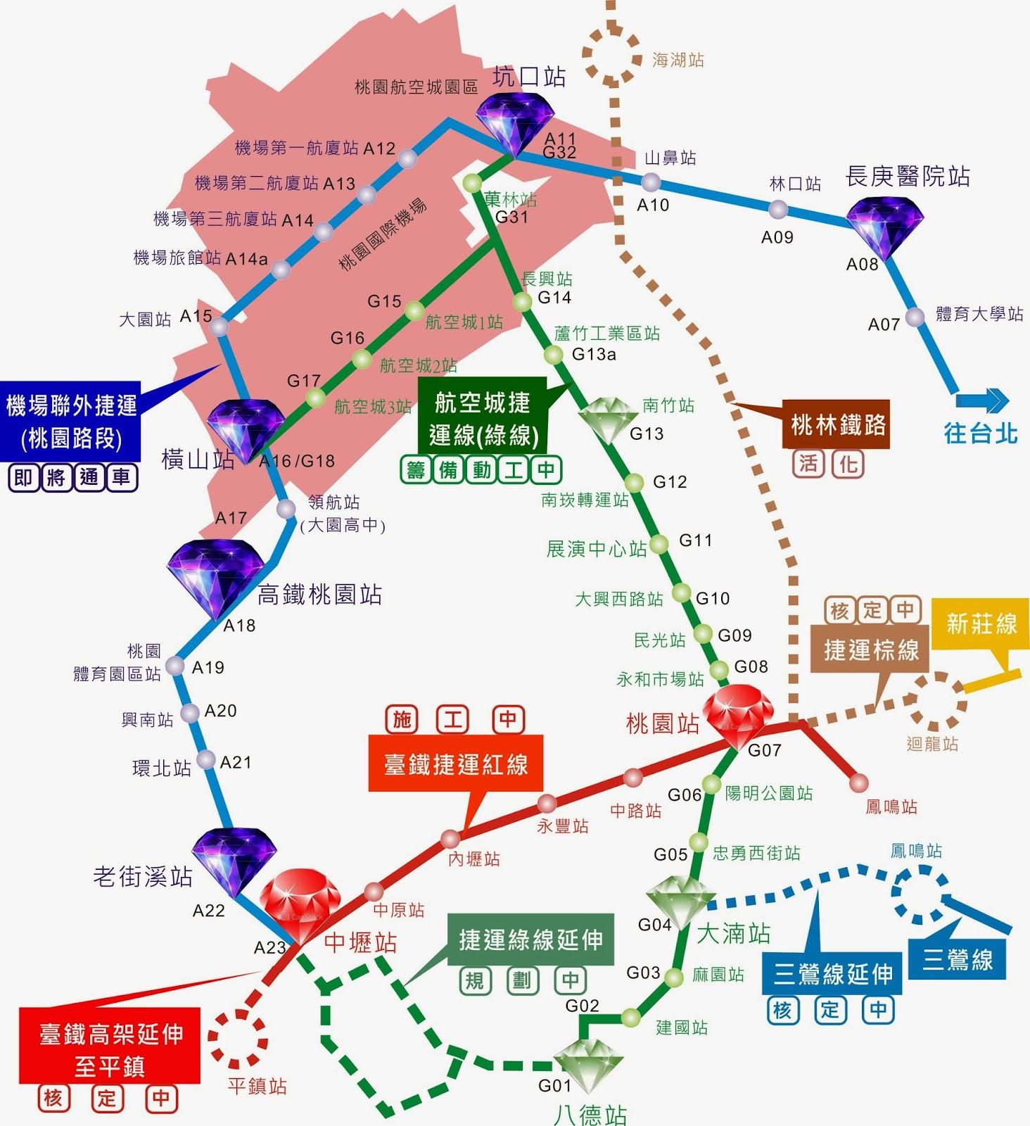 桃園.青埔.航空城買屋地圖及成交行情: 捷運綠線(航空城捷運線)小檔案