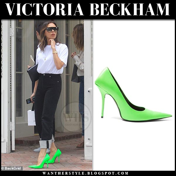 Victoria Beckham in neon green balenciaga pumps. Celebrity spring summer outfit june 13