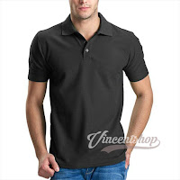 Kaos Polo Shirt Pria Warna Abu Tua