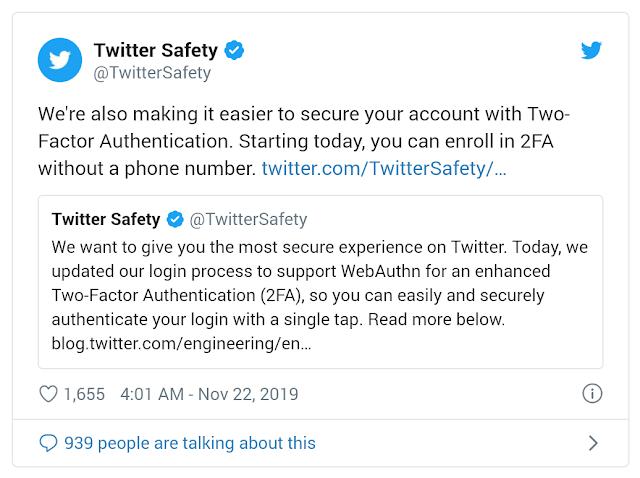 Kini Autentifikasi Dua Faktor di Twitter Tak Butuh Nomor Hp lagi