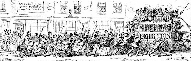 a George Cruikshank cartoon about the crowded 1851 London Exhibition transit coaches