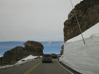 Tall snowbanks at the rock cut on Trail Ridge Road