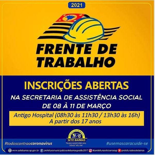 PROGRAMA FRENTE DE TRABALHO ABRE INSCRIÇÕES EM SETE BARRAS